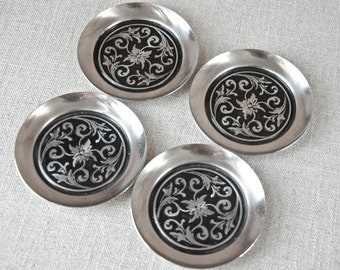 Coaster Set - Scandinavian Style  - Embossed 18/8 Stainless Steel