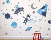 Outer Space Boy Wall Decal Nursery Space Decor Rocket Capsule, UFO, Alien, Planets, Stars, Moon, Space Walk Personalized Name