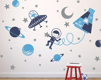 Outer Space Boy Wall Decal Baby Nursery Space Decor, UFO, Alien, Planets, Stars, Moon, Astronaut Personalized Name Rocket Capsule