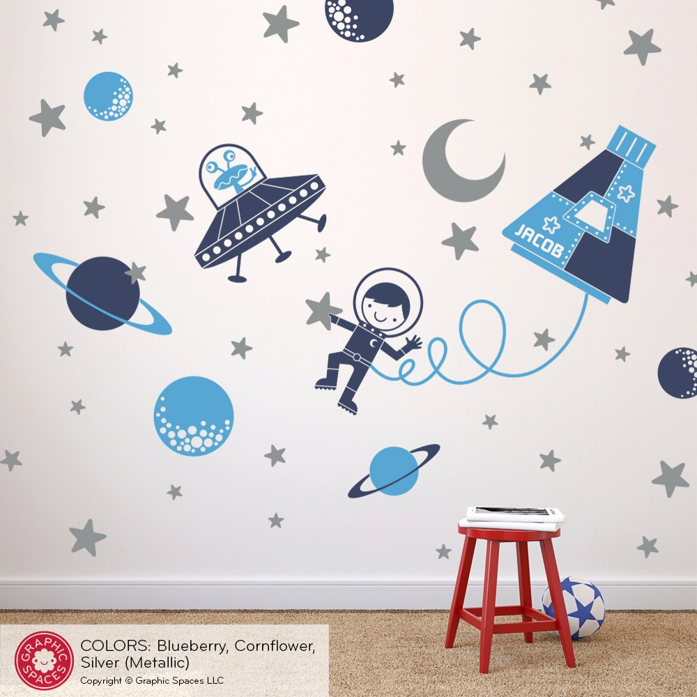 Outer space boy wall decal baby nursery space decor ufo for Outer space childrens decor
