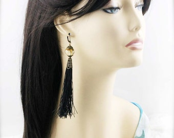 Golden black tassel earrings (TJ) - Cherry quartz