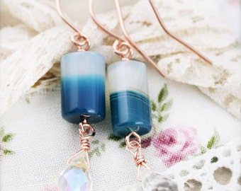 Ocean drop earrings - botswana agate