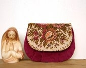 Vintage tapestry purple velvet clutch