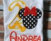 Chevron Minnie Mouse Birthday Shirt, Polka Dot Minnie Mouse Birthay Shirt, Girls Birthday Shirt