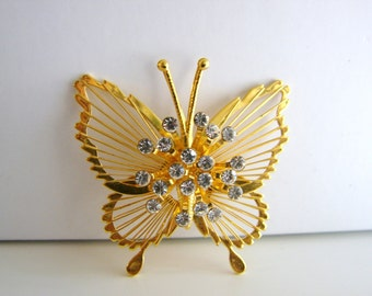 Vintage gold and clear crystal butterfly brooch (G9)