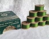 10 Vintage Spools of Limerick Green Silk Thread Famous Brands