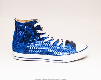Royal Blue Sequin Tennis Shoes