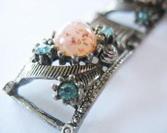 Victorian Revival Bracelet Glass Rhinestone Bookchain Silvertone 1950's
