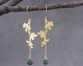 Matte Gold Branch Earrings - London Blue Topaz Earrings -Teal Blue Earrings -LIght Weight - Nature Inspired Jewelry - Branch and Leaves -