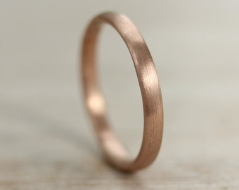 2mm Wide Women's Hand-Carved Classic Wedding Band - 10k, 14k, 18k, Gold or Palladium Rounded Ring