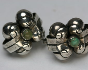 Vintage Sterling and Turquoise Earrings - Mexico - Screw Back