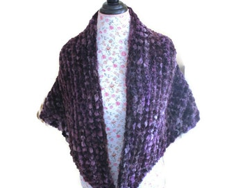 Soft Bulky Chunky HANDMADE KNIT CHENILLE Oversized Sweet April Purple Wrap/Stole/Shawl/Shrug/ Lap Blanket/ Throw - Ready to ship Today
