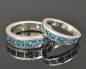 Kingman Spider Web Turquoise Wedding Ring Set in Sterling Silver