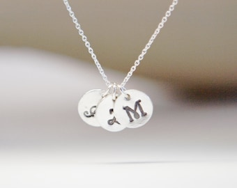 Stamped Necklace for Mother Mom Mother's Day Children's Initials Stamped Silver Charm Necklace One Two Three Charms Gift for Mom Mother