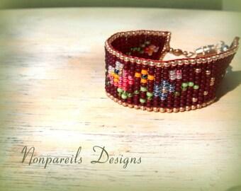 Bracelet, Rose, Tapestry, Child size hand loomed bead bracelet