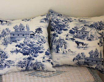 Country Toile Pillow Covers - Navy and Natural