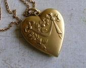 Antique French Art Nouveau Heart Pendant With Chain