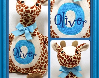 Personalized Baby Gift, Giraffe Stuffed Toy, New Baby Customized Embroidered Stuffed Animal, Embroidery by Renee's Embroidery