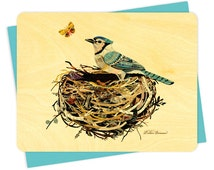 Dolan Blue Jay Wood Notecard -  A Collaboration with Mixed Media Artist Dolan Geiman - Real Birch Wood Card - WC364