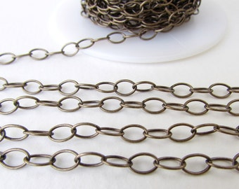 Antiqued Brass Ox Chain Cable Oval Soldered Links TierraCast 6x5mm chn0161 (1 foot)