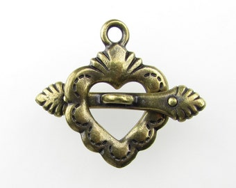 TierraCast Antiqued Brass Ox Sacred Heart Toggle Clasp Bar and Ring Finding clp0070 (1)