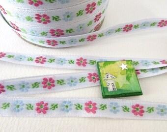 Vintage Ribbon Trim Woven Jacquard Ribbon Pink Flowers Blue White Japan rib0145 (2 yards)