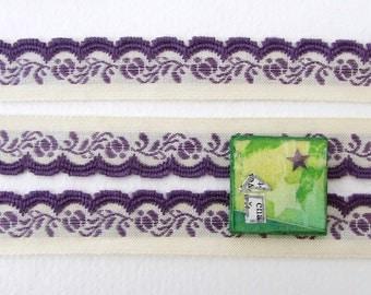 Vintage Trim Woven Jacquard Ribbon Ivory Amethyst Purple Flowers Leaves Scalloped Japan rib0193 (1 yard)