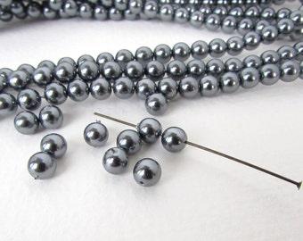 Vintage Bead Faux Pearls Dark Steel Grey Acrylic Japan Round 6mm vgp0045 (30)