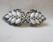 Vintage White Milk Glass Rhinestones Barrette Clip