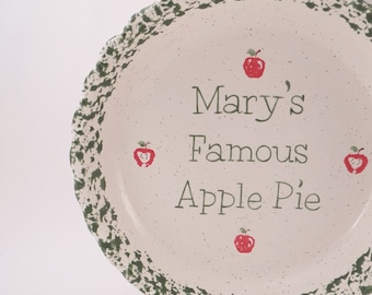 Apple Pie Dish - Personalized Pie Plate - Ceramic Apple Pie Plate - Deep Dish Pie Plate - Hand Painted Apple Pie Dish