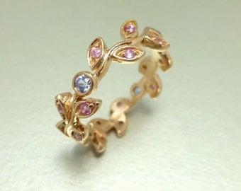 Pink sapphire leaf engagement ring.  Wedding ring with leaves. Blue sapphire leaf ring. 14k pink gold vine ring. Vine Wedding band.