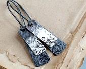 Sterling silver earrings, minimalist earrings, rustic earrings, hammered mixed metal, elongated earrings - Asteroid Belt