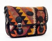 Geometric Kilim Tapestry Black Leather Cross Body Bag