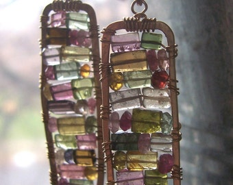 Tourmaline Mosaic Earrings, Stained Glass Earrings with Tourmaline,Tourmaline Earrings with Gold Filled wire, Wire Wrapped Earrings.
