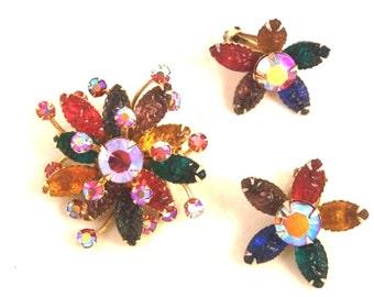 Vintage Rhinestone, Molded Glass Flower Pin Earring Set