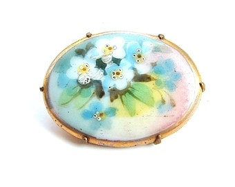 Victorian Jewelry, Hand Painted Porcelain Brooch Romantic Pastel Flower Bouquet Pin