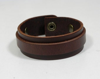 Simple Brown Leather Cuff Bracelet Leather Bracelet