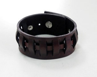 Weave Brown Leather Bracelet Leather Cuff Leather wristband