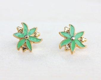 Green Flower Studs