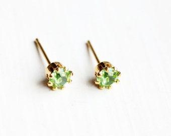 Teeny Tiny Light Green Crystal Dot Studs