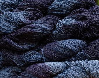 Fine Cotton Boucle, Hand-dyed yarn - Denim Tonal 300 yds.