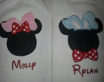 Disney  Easter Bunny Rabbit~ Mickey Minnie Mouse, adults, Brother & sister tees vacation  Personalized with names Spring break trip