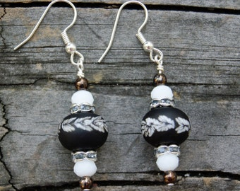 Black and White Lampwork Glass and Crystal Earrings
