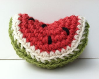 Gift For Baby Crochet Plush Watermelon Wedge Baby Rattle Toy Nursery Decor Baby Shower Gift Baby Rattle Gift Under 10 Fruit Baby Rattle