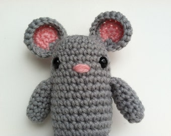 Amigurumi Crochet Gray Mouse Plush Toy Kawaii Plush Mouse Nursery Decor Gift Under 25 Stuffed Animal Mouse Plushie Mouse Crochet Mouse Doll