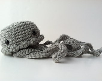 Amigurumi Crochet Heather Gray Jellyfish Plush Toy Kawaii Jellyfish Nursery Decor Jellyfish Plushie Stuffed Animal Jellyfish Gift Under 25