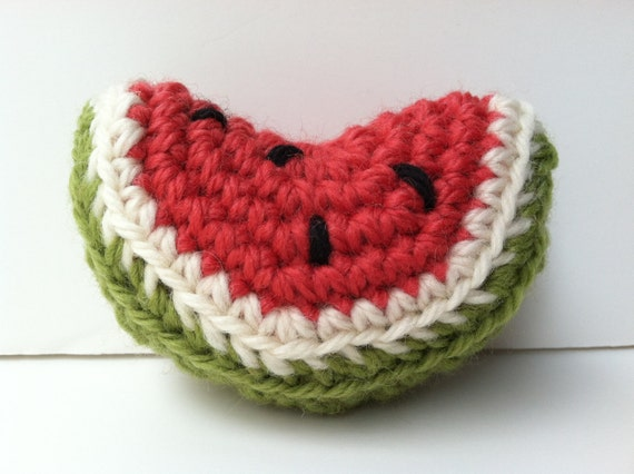 Amigurumi Watermelon : Amigurumi Crochet Plush Watermelon Wedge Baby Rattle by ...