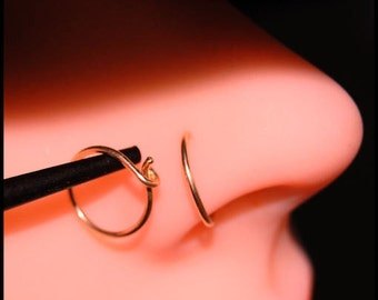 Rose Gold Nose Hoop / 14K Solid Rose Gold Nose Ring / Dainty Nose Ring - CUSTOMIZE