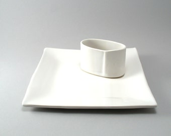 Square Cheese Tray-Oval Cracker Dish-Set of 2-Tableware-Appetizer Plate-Pottery Tray-Glaze-Handmade-White Stoneware