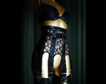 MARLENE Antique Lace Suspender Garter Belt.